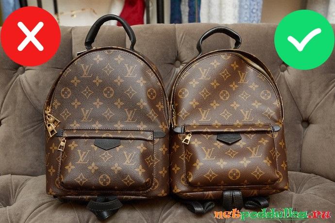 Поддельный рюкзак и оригинал Louis Vuitton
