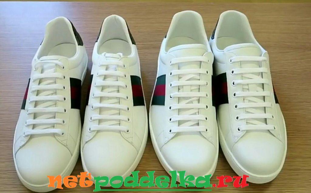 Оригинальные кроссовки Gucci и подделка