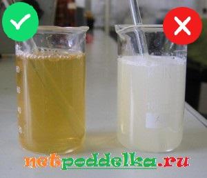 Смешивание оригинального меда и подделки с водой